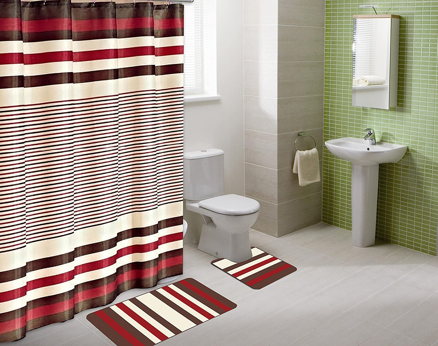 Fabulous Gorgeoushome Complete Bathroom Set Printed Banded Rubber Backing Rug Bath Mats With Fabric Shower Curtain Hooks New Designs 15Pc Burgundy Winry Download Free Architecture Designs Scobabritishbridgeorg