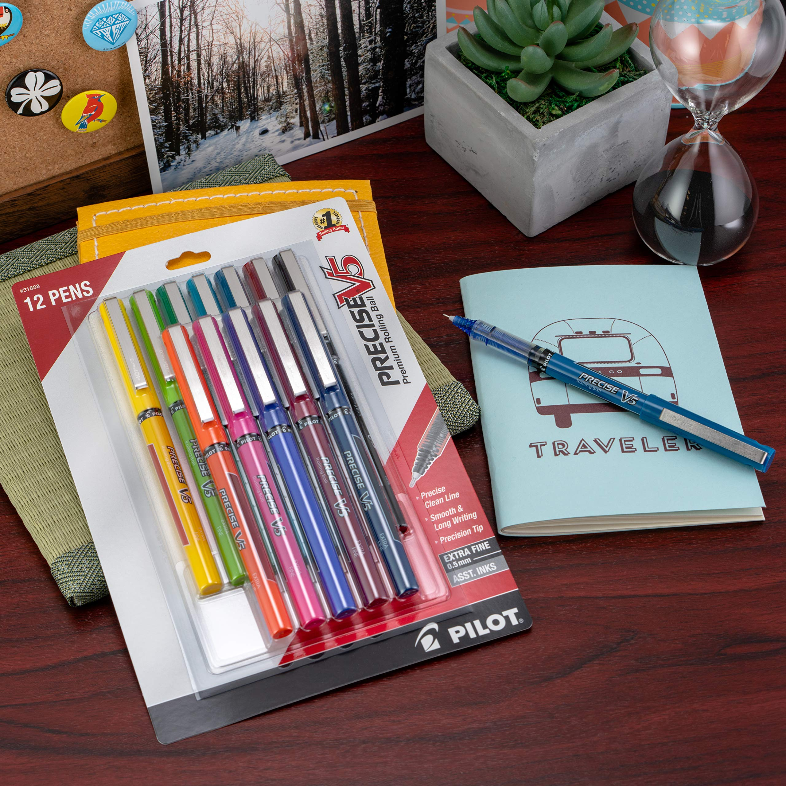 Pilot Precise V5 Stick Rolling Ball Pens, Extra Fine Point 0.5mm, 12 Colors (31888) by Pilot (Image #5)