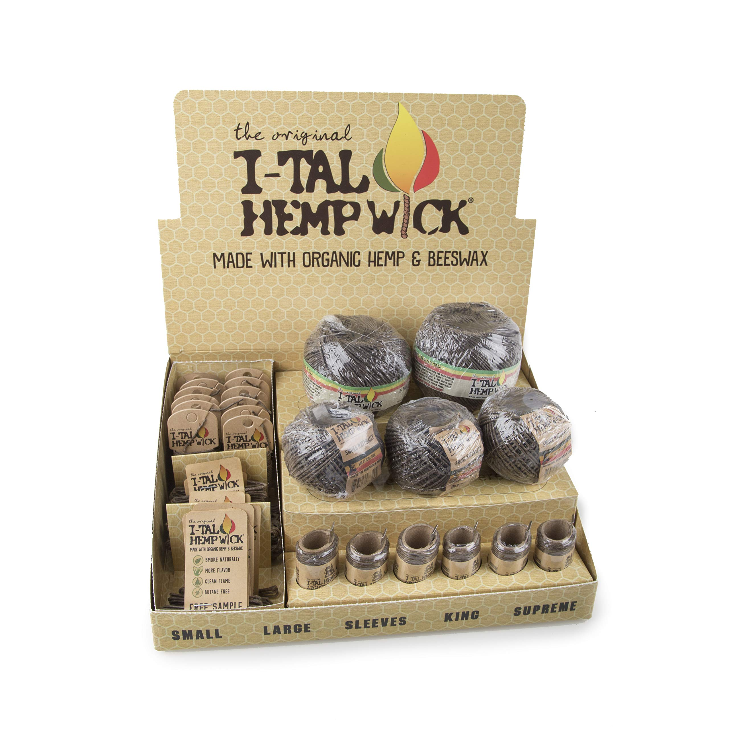I-Tal Hemp Wick Combo Box - Display Box Sampler - Various Sizes