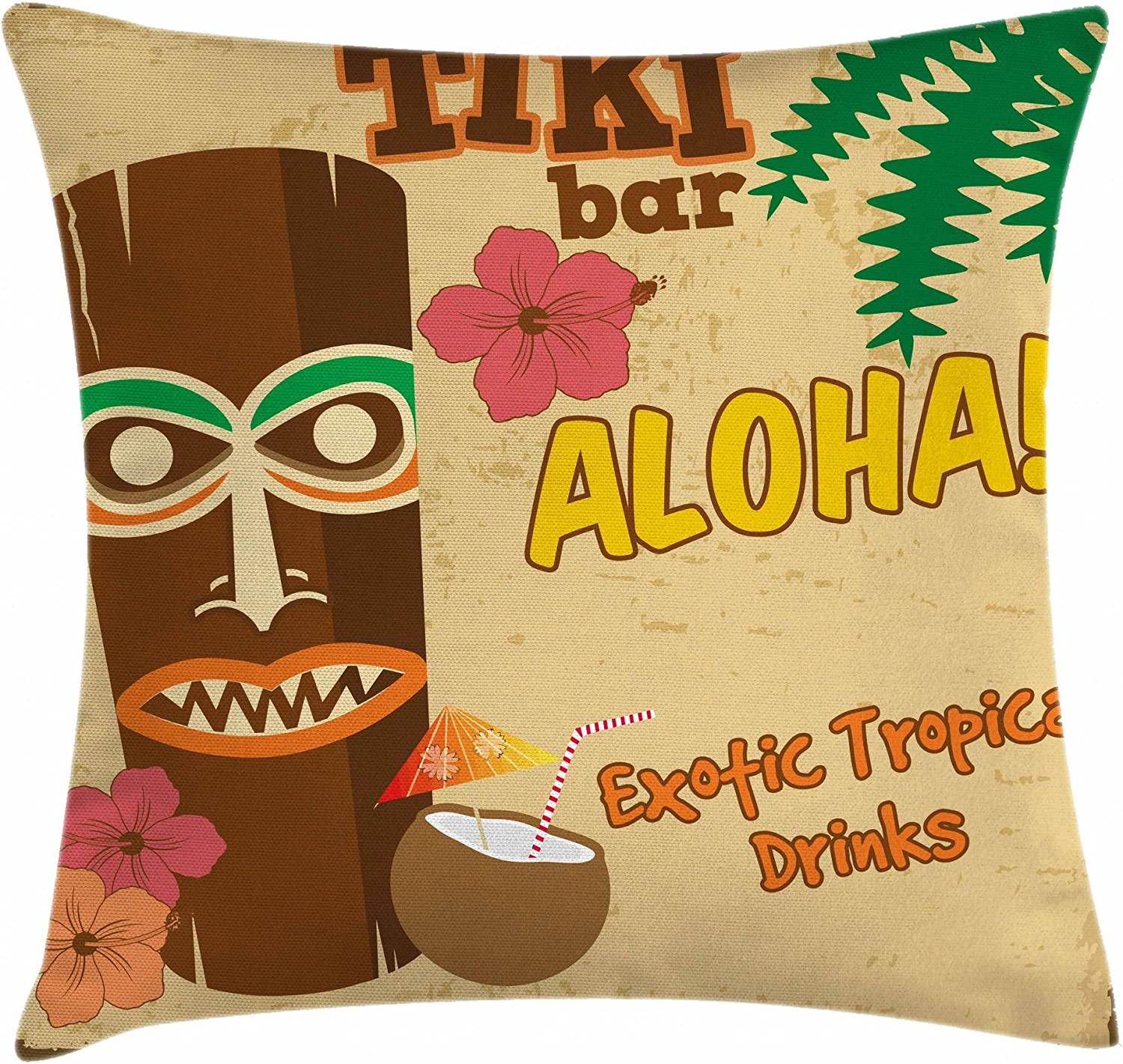 "Ambesonne Tiki Bar Throw Pillow Cushion Cover, Polynesian with Tropical Drink Retro Typography and Flora Old Aged Design, Decorative Square Accent Pillow Case, 16"" X 16"", Beige Brown"