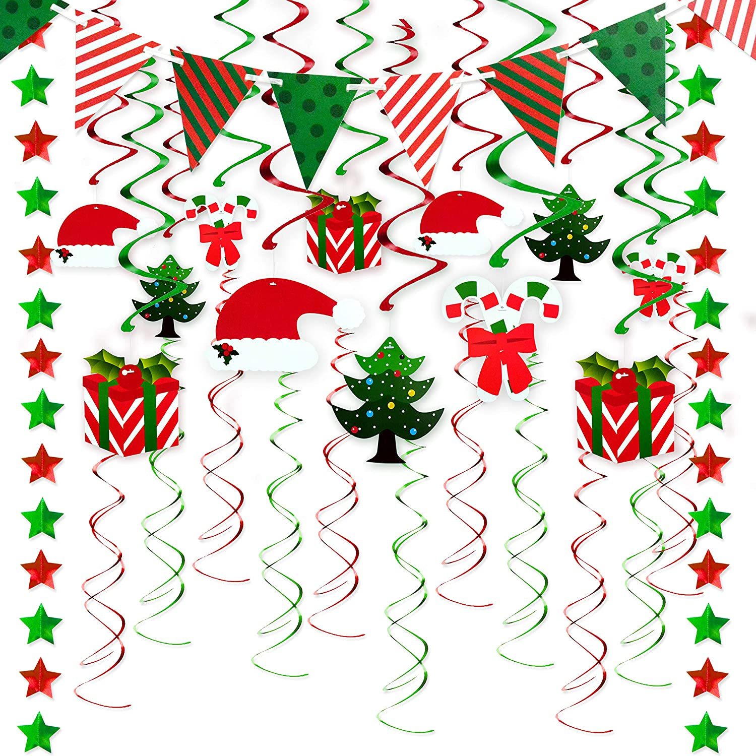33 Pcs Christmas Swirls Garland Foil Hanging Ceiling Decoration For Christmas Party Supplies Winter Wonderland Holiday Party Supplies With Christmas