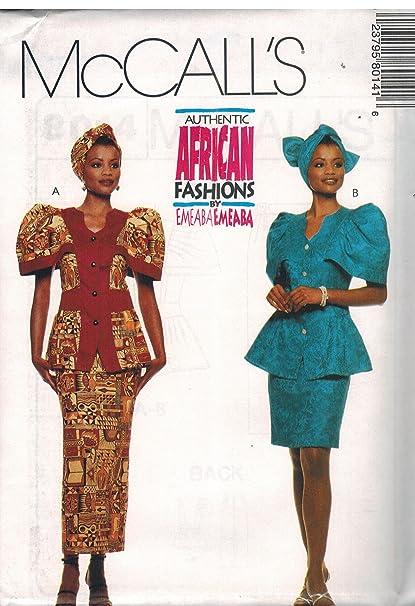 f1a389c087 Amazon.com  8014 McCalls Sewing Pattern Uncut Misses Top Skirt Headwrap  African Fashion Emeaba Emeaba Size 12 14 16  Arts