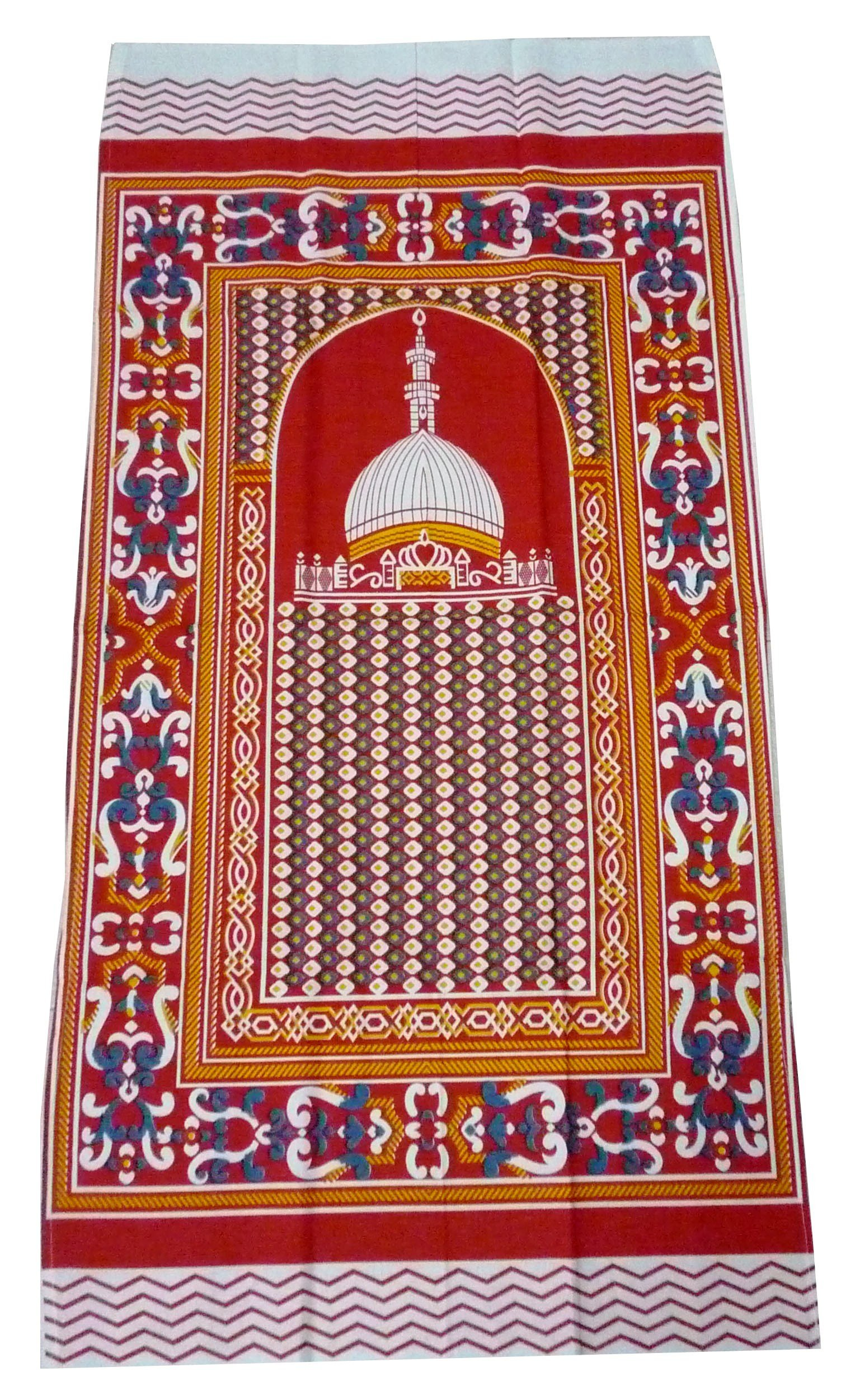 Portable Prayer Mat Thin Cloth Islam Muslim Namaz Sajadah School Camping Backpack Travel Office Sajjadah (Fresh Red)