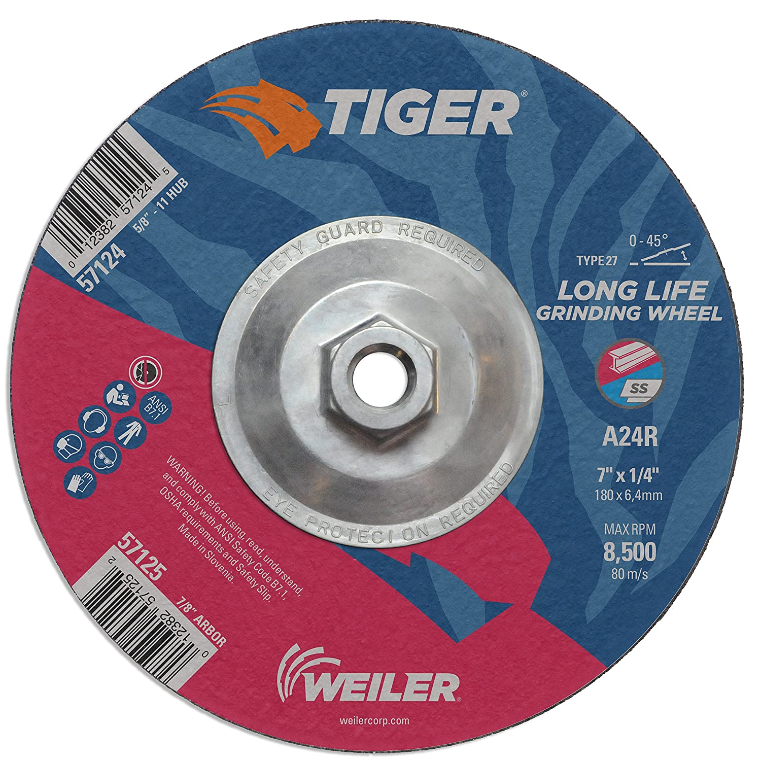 Weiler 57124 7 x 1//4 Tiger Type 27 Grinding Wheel Pack of 10 5//8-11 UNC Nut Pack of 10 5//8-11 UNC Nut A24R