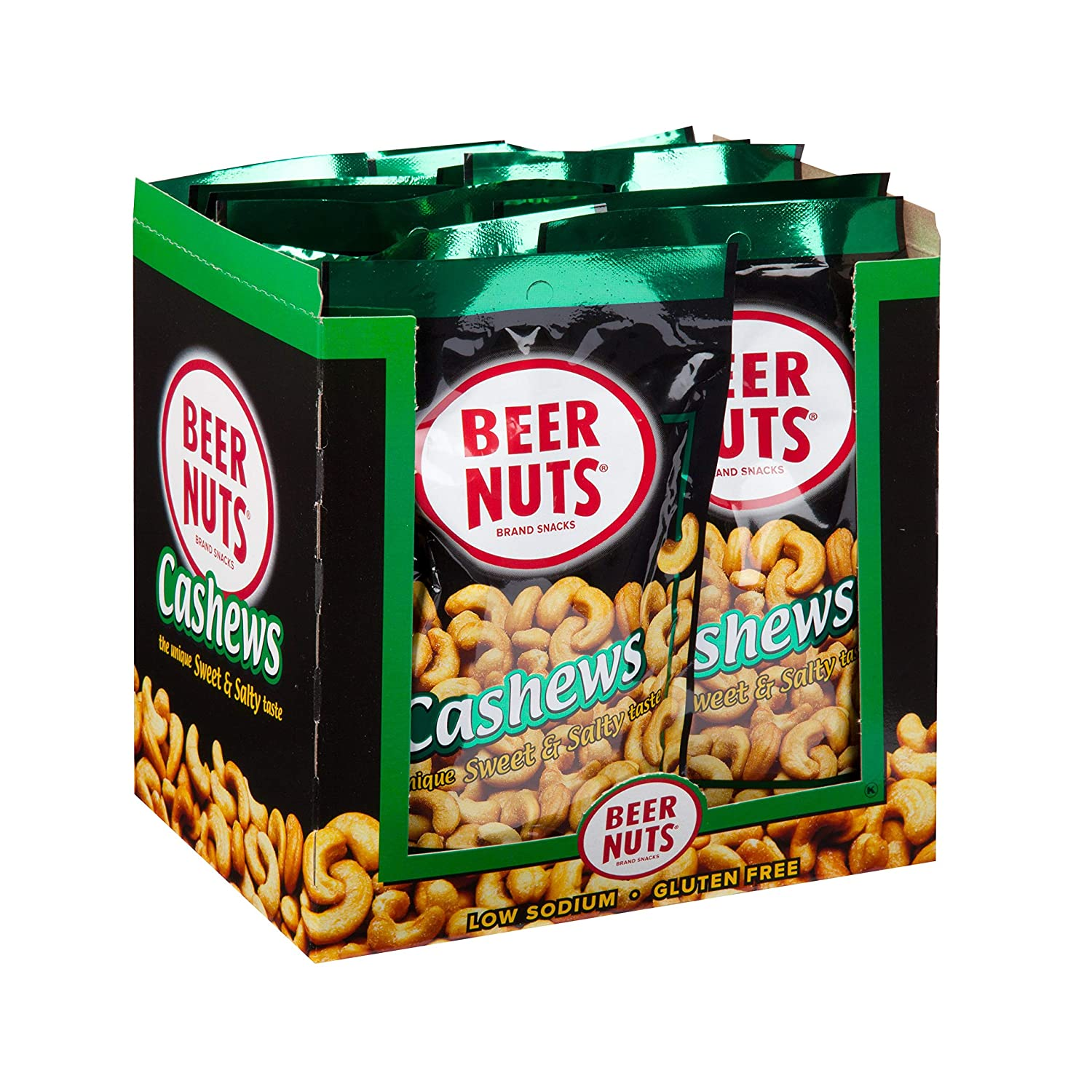 BEER NUTS Cashews - 12-Count 4oz Single Serve Bags, Low Sodium, Gluten Free Cashews
