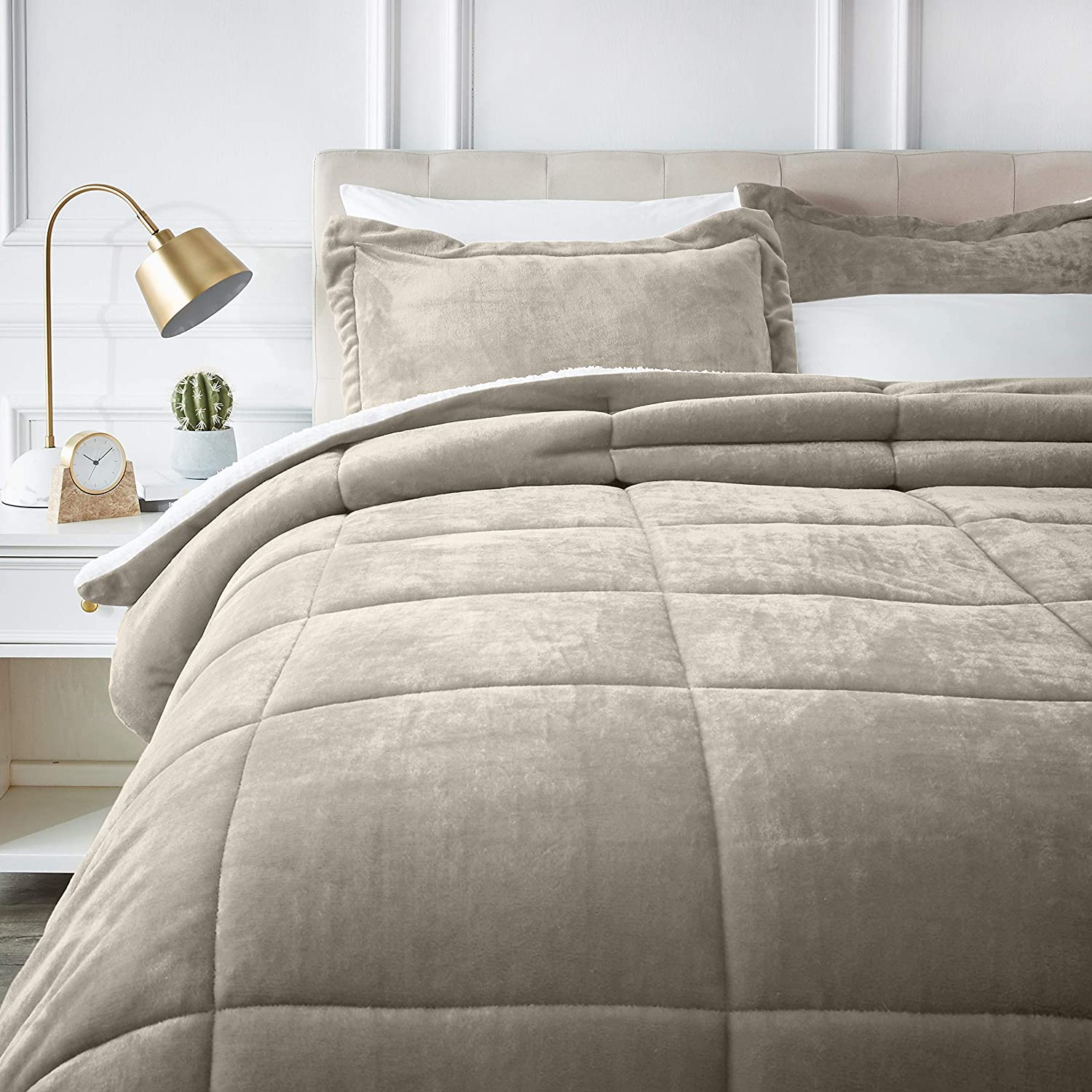 AmazonBasics Micromink Sherpa Comforter Set - Ultra-Soft, Fray-Resistant -Full/Queen, Taupe
