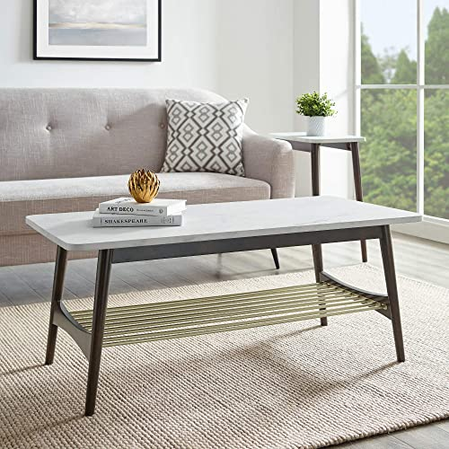 Walker Edison Wood Base Rectangle Coffee Table Living Room Accent Ottoman Storage Shelf