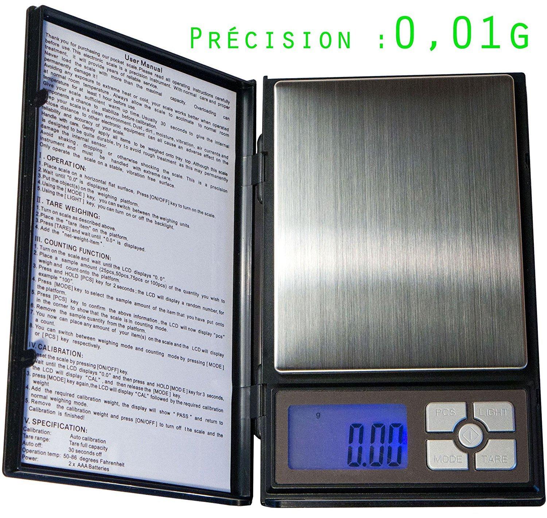 Balance Haute Pré cision taille XL - trè s pré cise : 0.01 g - max 500g Pocket Scale