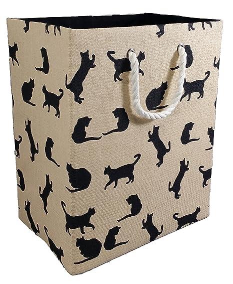 Tamaño grande plegable bolsa de almacenamiento. Beige con gatos negros pattern. revistero bolsa para