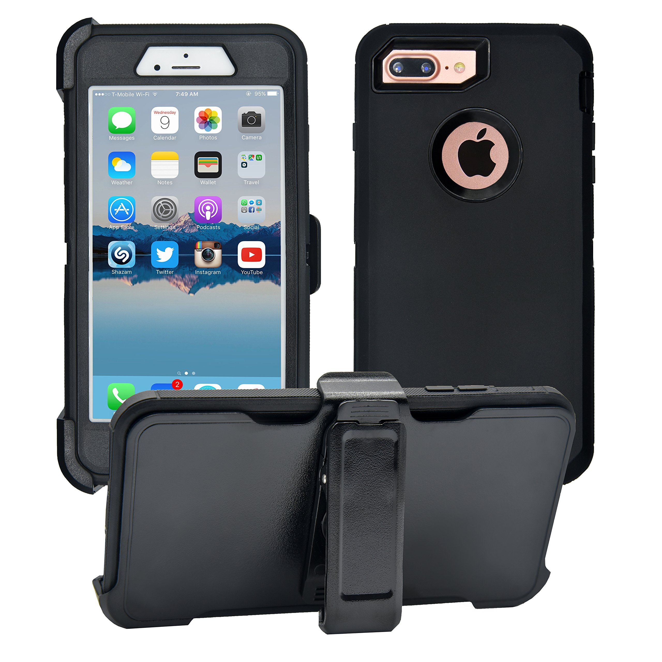iPhone 7 Plus / 8 Plus Cover | 2-in-1 Screen Protector & Holster Case | Full Body, Military Grade Edge-to-Edge Protection with carrying belt clip Black / Black