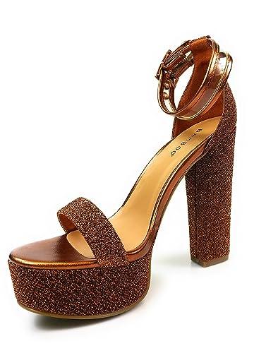 Women's Glitter Piped Platform Ankle Strap Heels Tournament-77