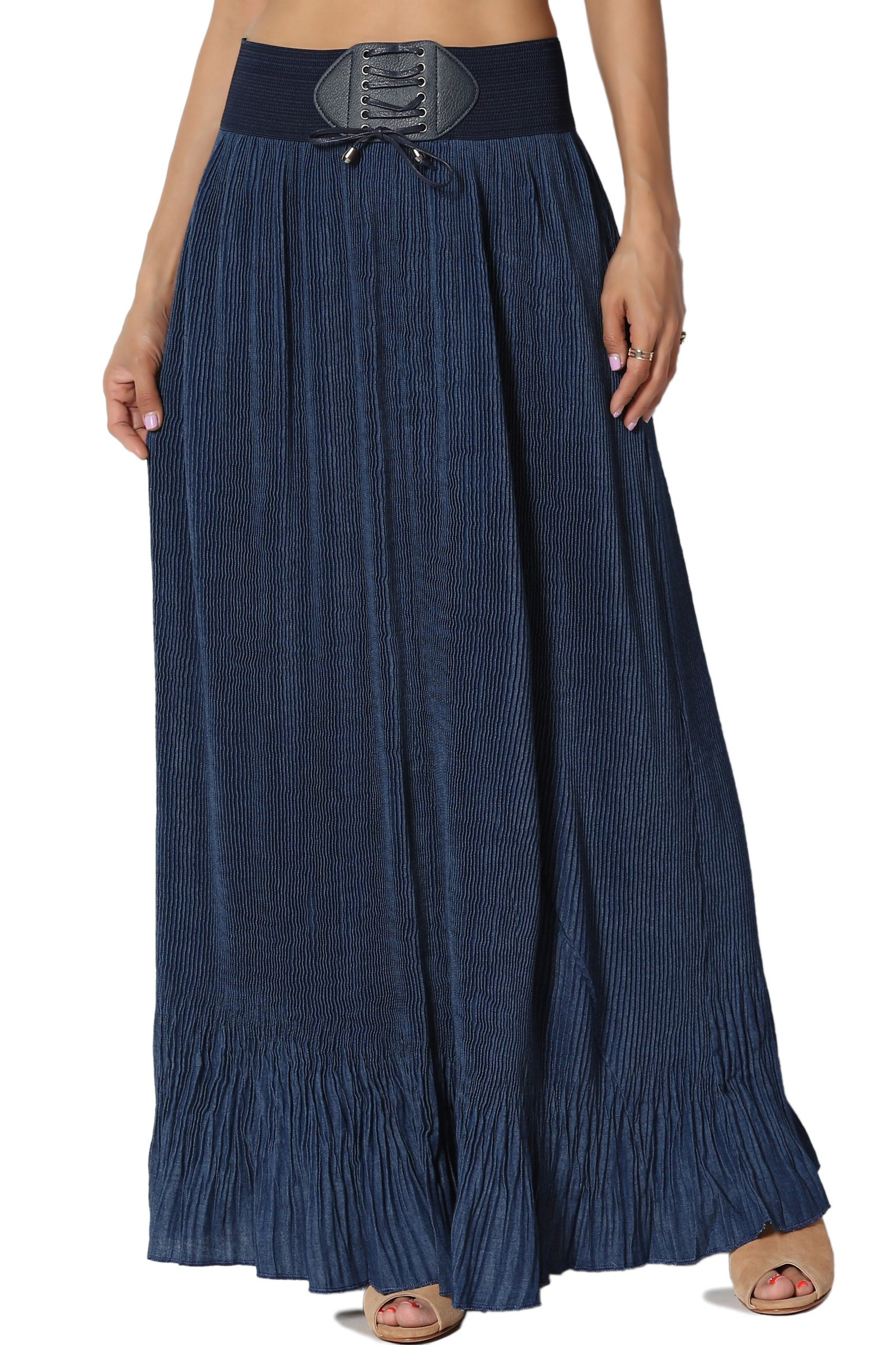 TheMogan Junior's Pleated Chambray Denim Elastic Belted Maxi Skirt Navy ONE Size