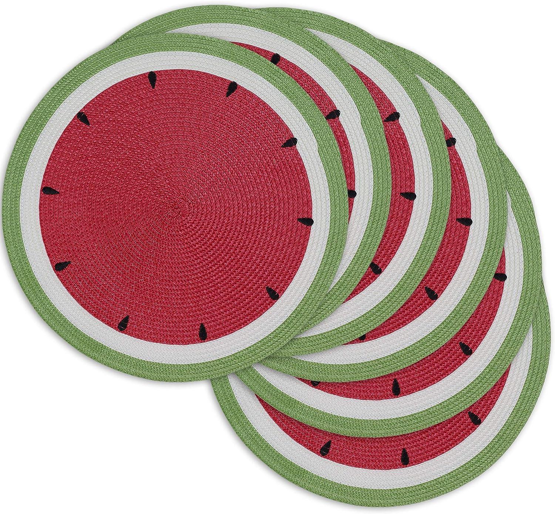 DII Watermelon Collection Kitchen, Placemat Set, Summer Day 6 Piece