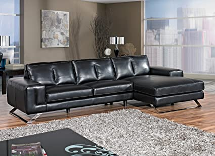 Cortesi Home Contemporary Manhattan Genuine Leather Sectional Sofa With  Right Facing Chaise Lounge, Black 116u0026quot