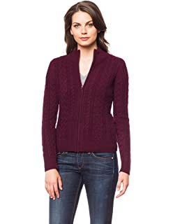Invisible World Women s 100% Cashmere Cardigan Open Cable Knit Katy 02682921e