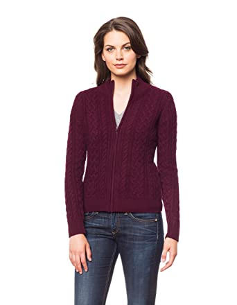 Invisible World Womens 100 Cashmere Cardigan Open Cable Knit Katy