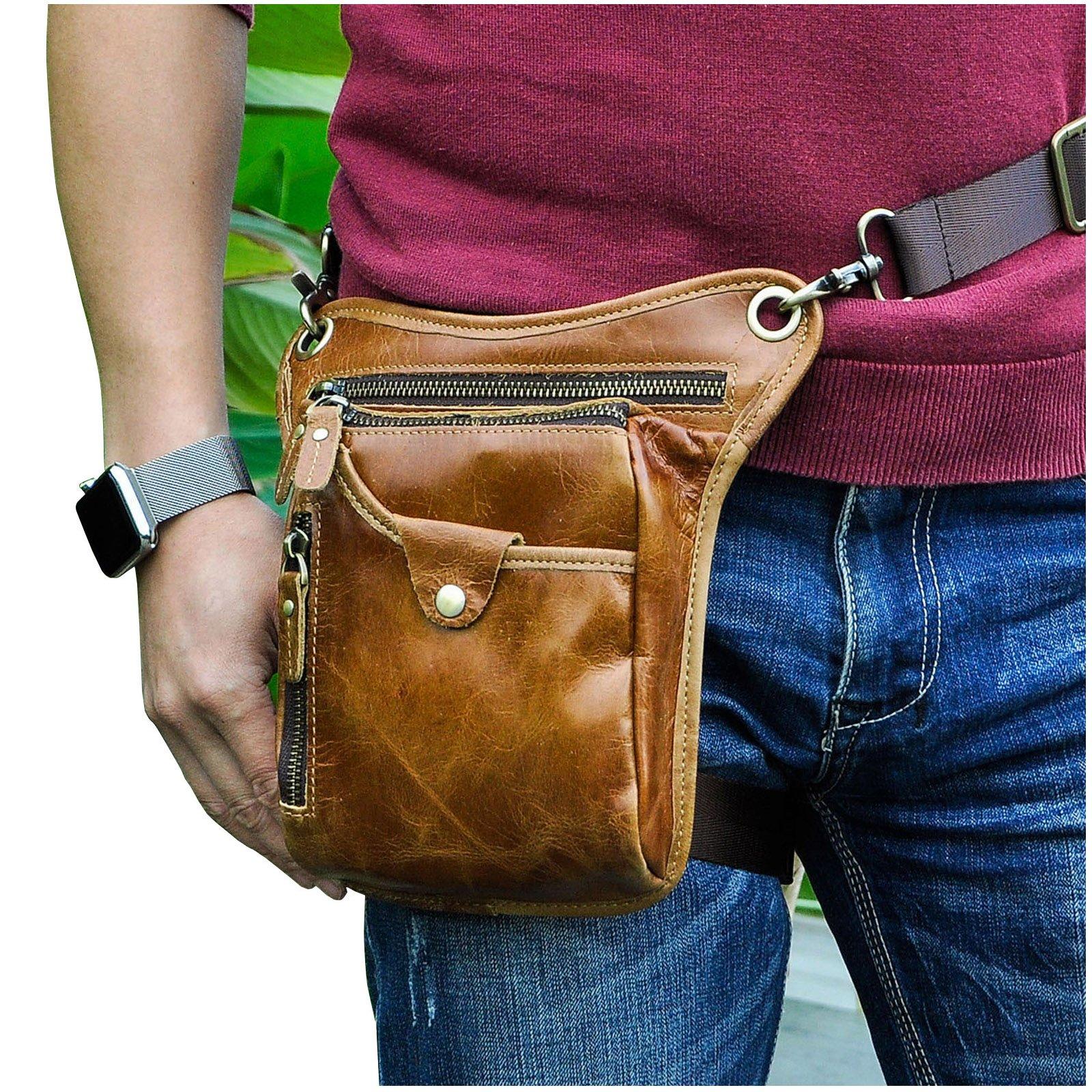 Le'aokuu Mens Genuine Leather Motorcycle Waist Pack Messenger Shoulder Drop Leg Bag (211-5 Light Brown 3)