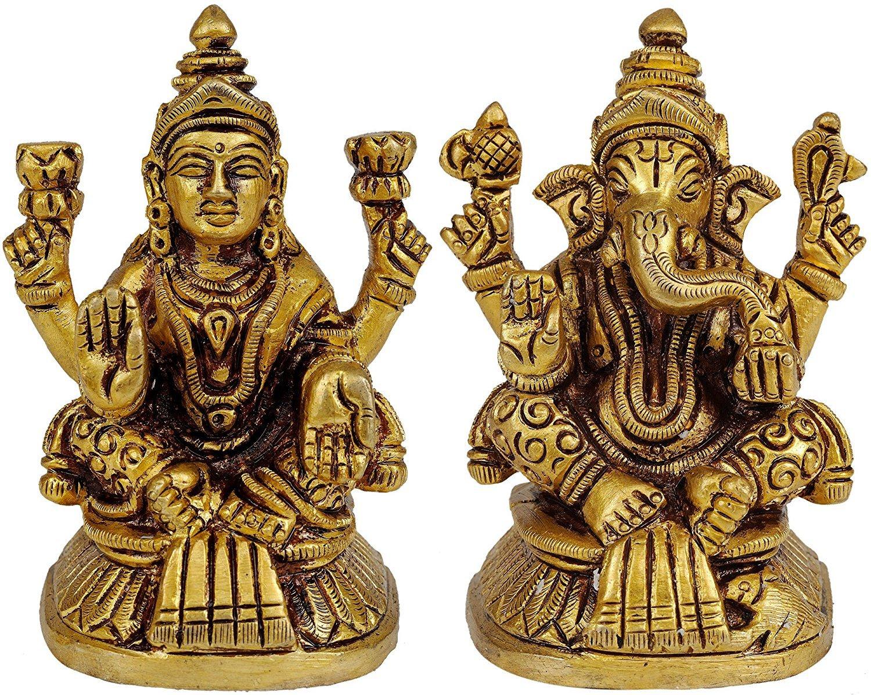 Exotic India Shri Ganesha e dea Lakshmi–Brass Statue Individual Artist ZAK97