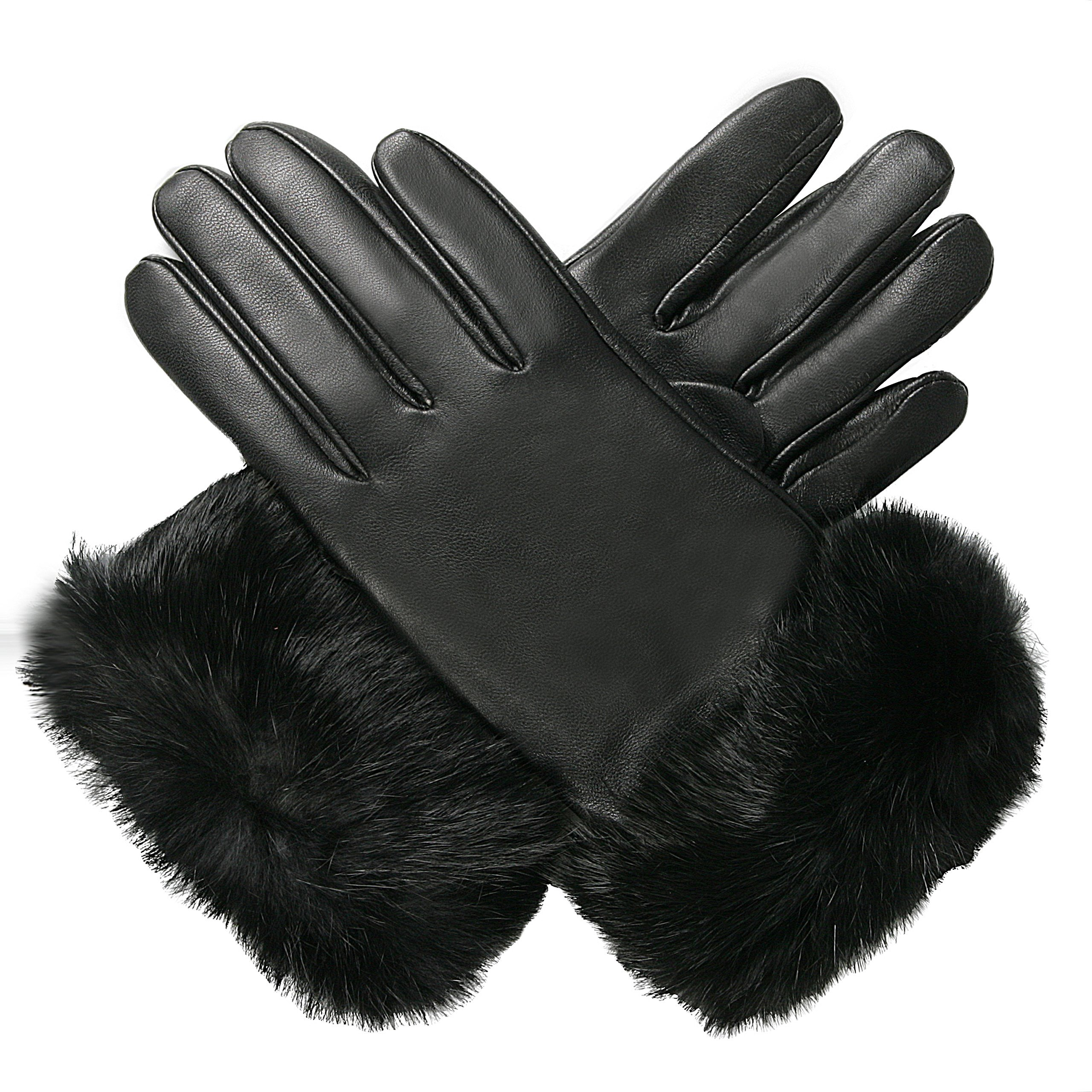 Luxury Lane Women's Rabbit Fur Cuff Cashmere Lined Lambskin Leather Gloves - Chocolate Medium by Luxury Lane (Image #3)
