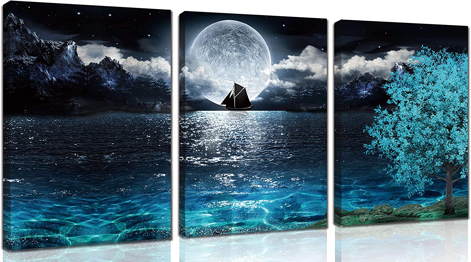 aburaeart Moon Wall-Art - Teal Ocean Modern Decor Wall Decor for Living Room - Wall Art for Bedroom On Canvas Framed Size 12x16 Inches x3 Pieces