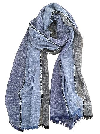 DAMILY Mode Hommes Écharpe Automne Hiver Foulard Doux et Chaud (Bleu  MarineNoir) 0b2d606fdd6