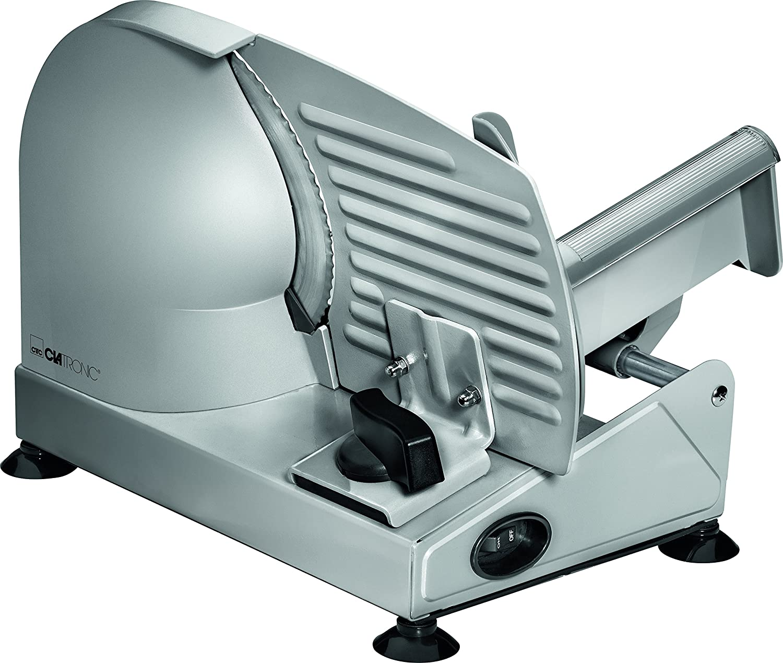 Clatronic MA 3585, Vollmetall-Allesschneider, Großes rostfreies Edelstahlmesser (Ø 190 mm), 150 Watt, Universalwellenschliff, Alu-Druckguss Motorgehäuse, Stufenlos einstellbare Schnittstärke (0-15mm)