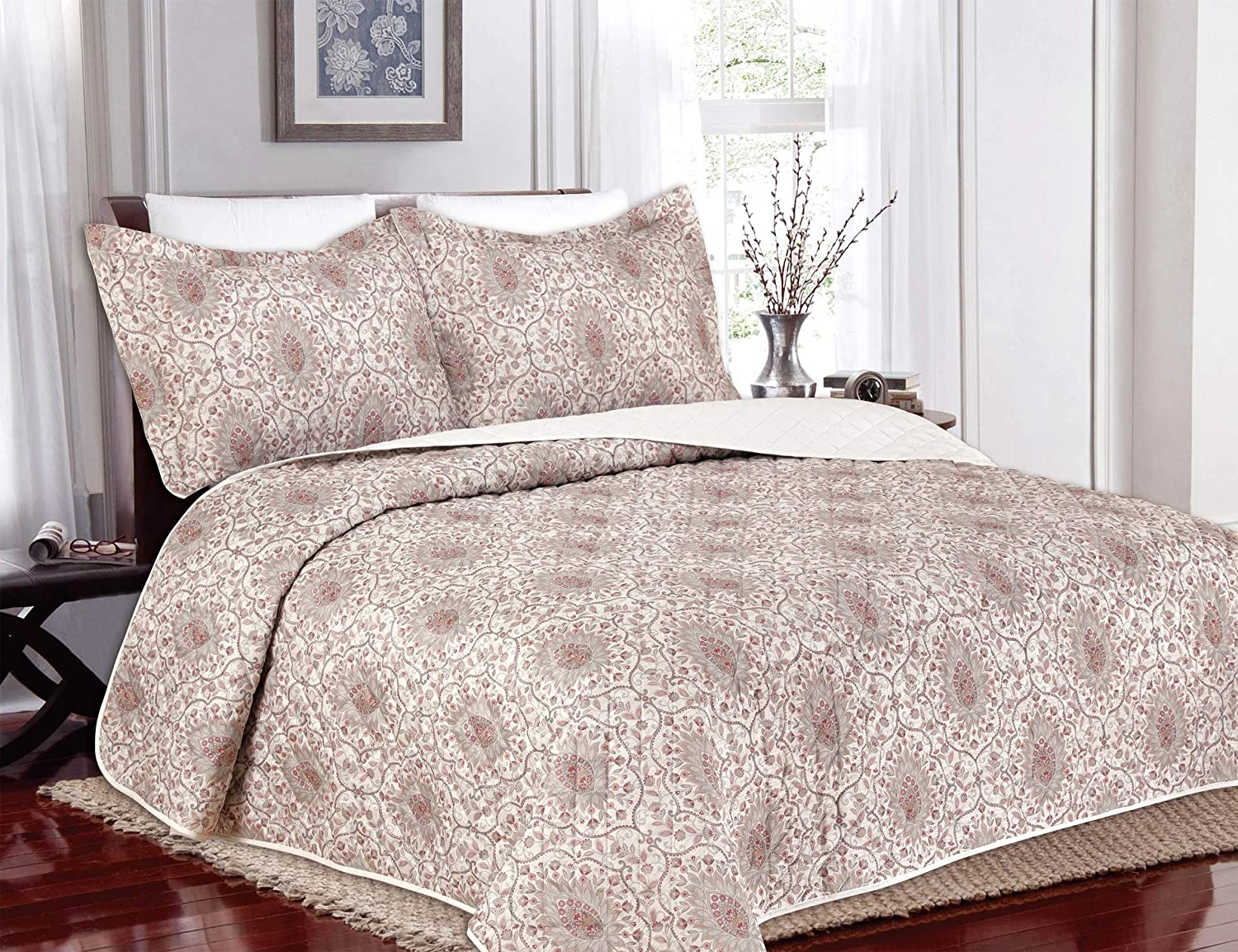 Regal Home Collections 3 Piece Set, Damask Pattern Pinsonic Queen Size Quilt Set, One Quilt with Two Pillow Shams