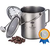 Bestargot Titanium Cup Camping Coffee Mug 750ml Pot, Outdoor French Press Pot, Camp Cooking Pot, Multi-Functional Travel Mug,
