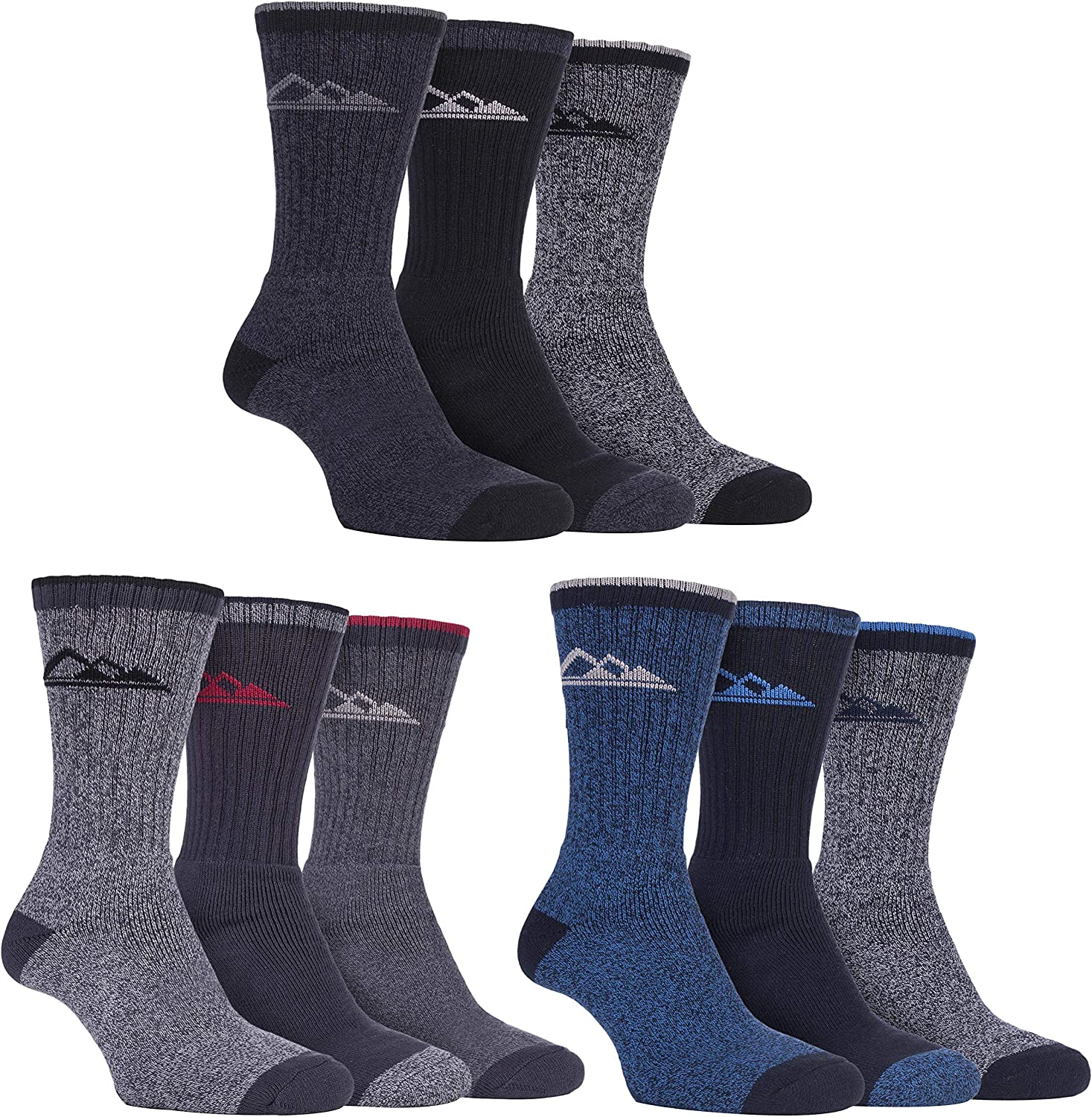 Storm Bloc - 3 Pack Mens Padded Sole Anti Blister Lightweight Breathable Cotton Walking Hiking Socks for Summer Sbms032cha