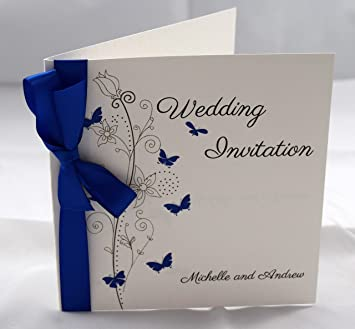 butterfly wedding invitations personalised with ribbon available in