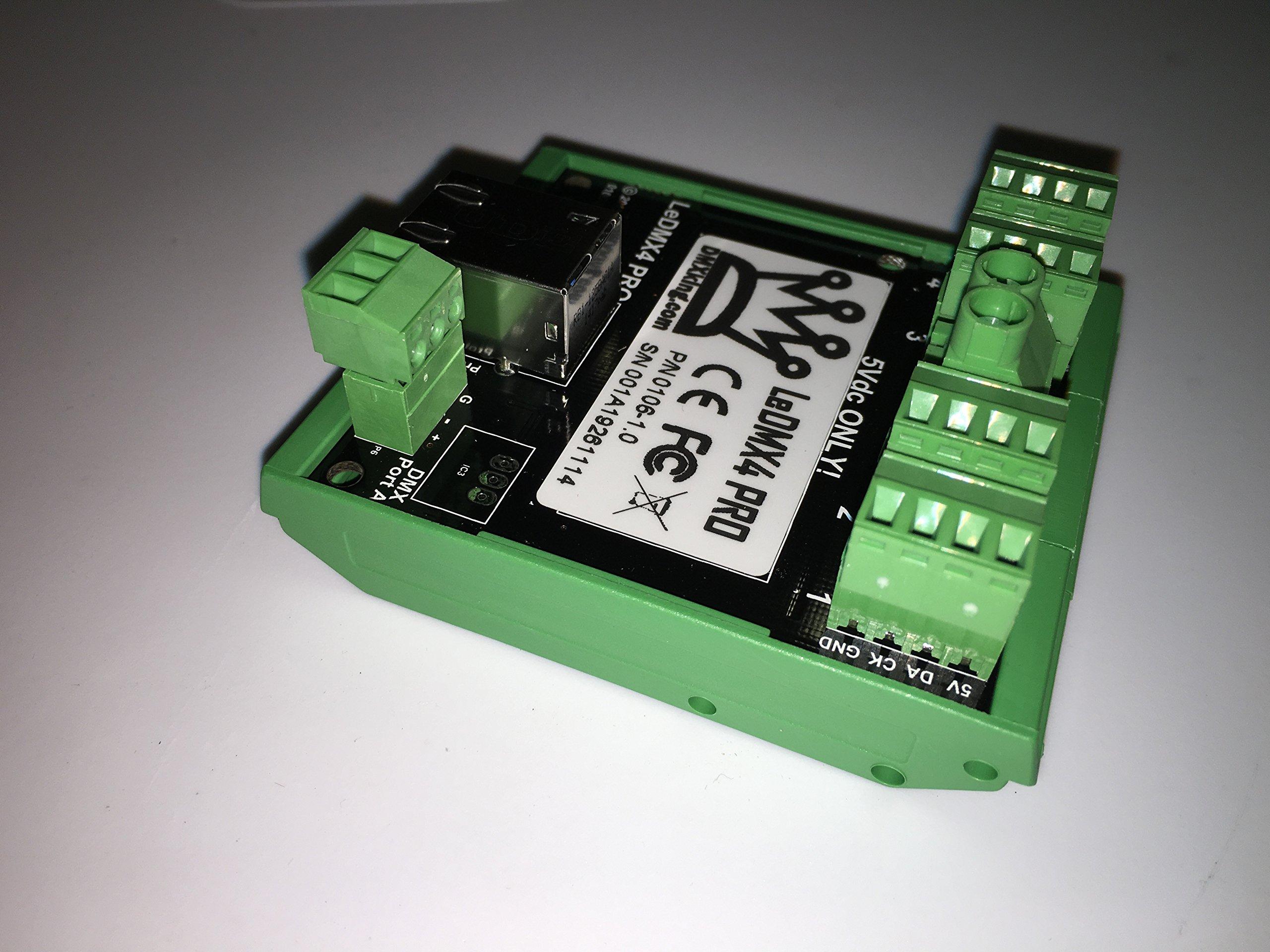DMXking LeDMX4 PRO 5V LED RGB Pixel Controller DIN mount