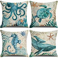 LAXEUYO Juego de 4 Cojin Fundas 45x45 cm, Criaturas del Mar Algodón Lino Decorativa…