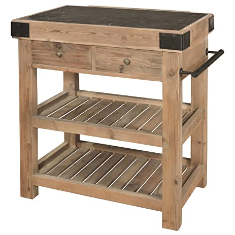 Nadar French Country Reclaimed Pine Blue Stone Block Kitchen Island