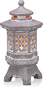 TERESA'S COLLECTIONS Pagoda Lantern Outdoor Statues with Solar Lights, Asian Decor Large Resin Garden Sculptures Stone finish, Lawn Ornaments Zen Art for Landscape Patio Porch Yard Decorations, 12.6''