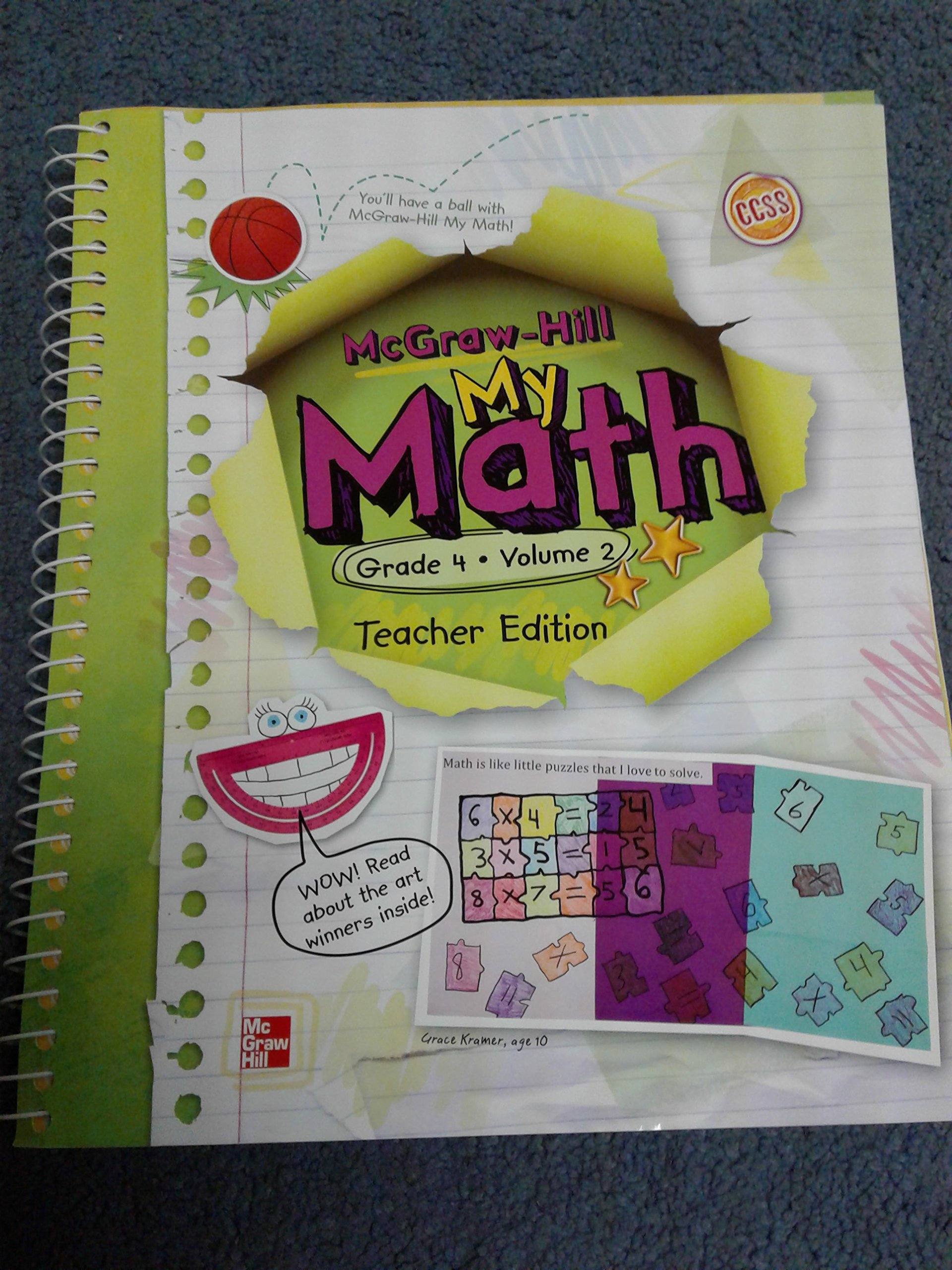 Math McGraw Hill My Math: Grade 4, Vol. 2, Teacher\'s Edition: Carter ...