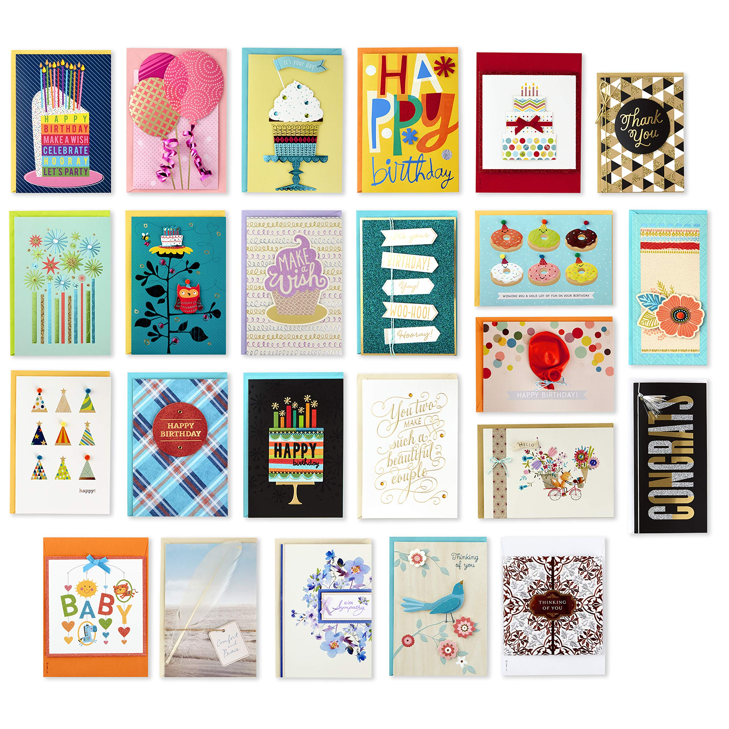 Hallmark Pack of 24 Handmade Assorted Boxed Greeting Cards, Modern Floral-Birthday Cards, Baby Shower Cards, Wedding Cards, Sympathy Cards, Thinking of You Cards, Thank You Cards by Hallmark
