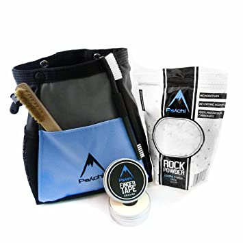 Psychi ABYSS - Juego de bolsa de magnesio para escalada de paredes de roca con cinta de tiza y cepillo