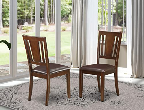Dudley Dining Chair with Faux Leather upholstered Seat in Mahogany Finish