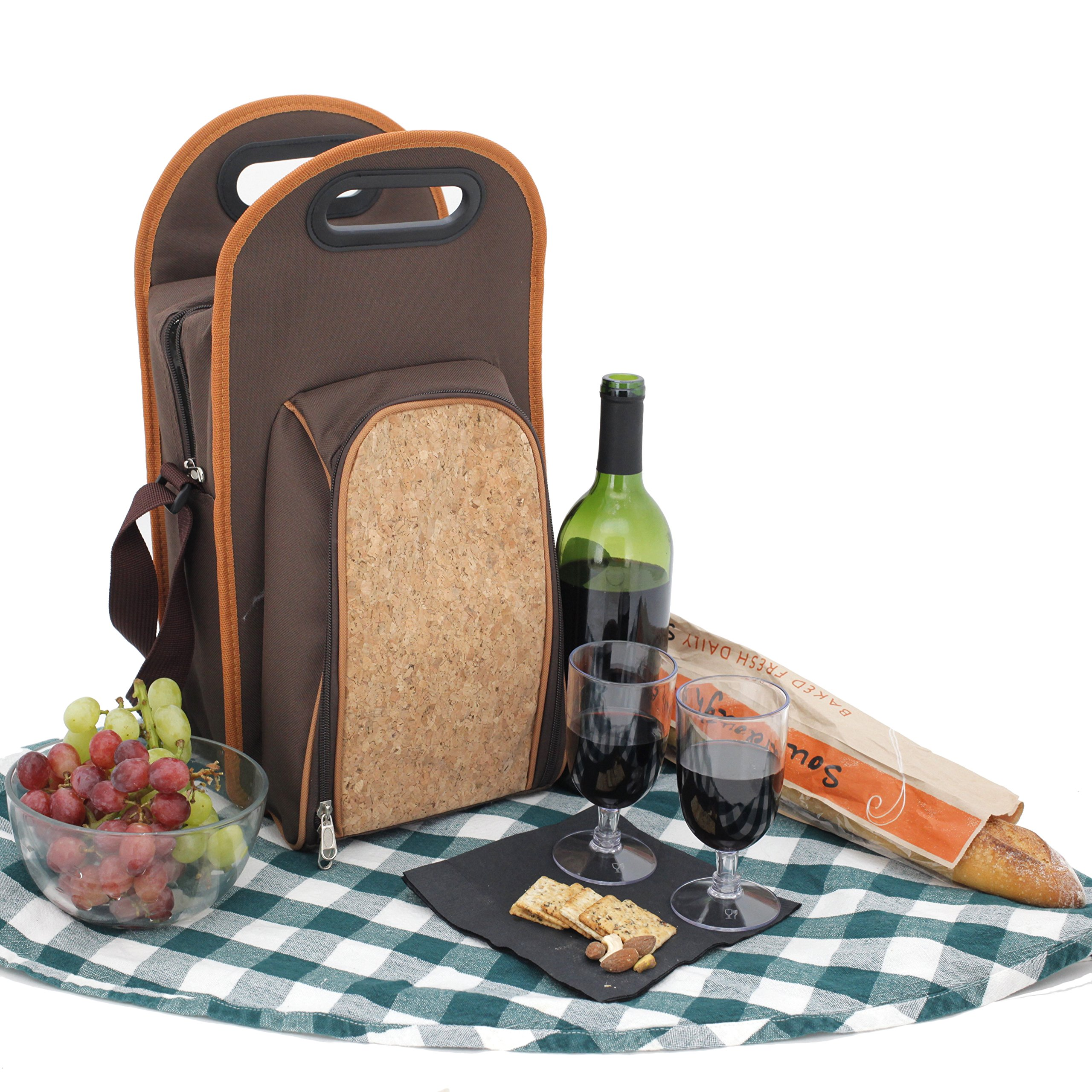 Bucasi PB200 Wine Travel Insulated Cooler Wine Carrier Tote Bag with Carrying Strap - Includes Wine Opener, and Glasses with Natural Cork Design