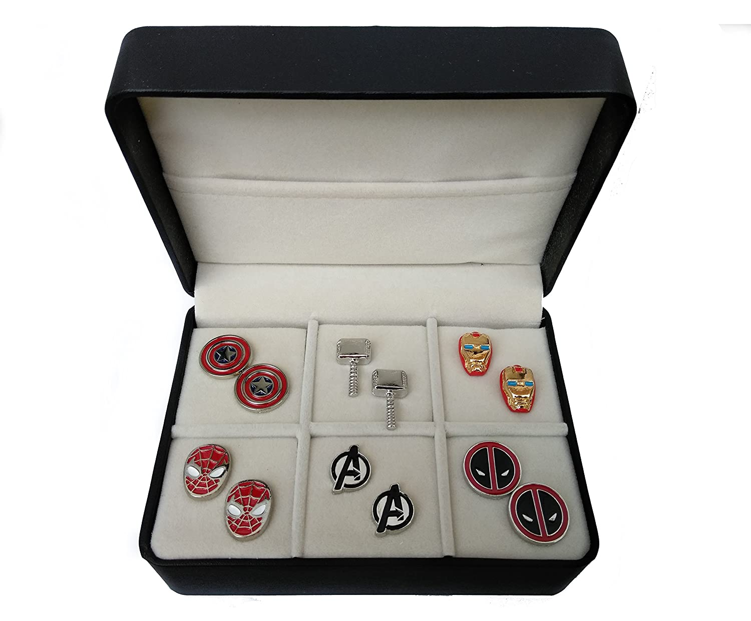 Geek & Glitter Marvel & DC Cufflink Set - 6 Pairs with a free Gift Box