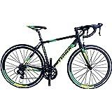 TRINX(トリンクス) 【ロードバイク】デュアルコントロールモデル ShimanoTourney シマノ14Speed 軽量 アルミフレーム700C TEMPO2.0 ロードバイクエントリーモデル 3サイズ4カラーバリエーション TEMPO2.0 ブラック/グリーン 500mm