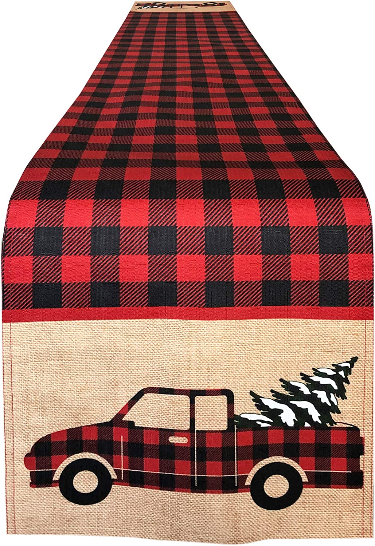 Newbridge Pine Hill Christmas Tree Farm Fabric Holiday Placemats Set of 4 Buffalo Check Red Truck Placemats Nostalgic Retro Christmas Farm Truck Print Placemats