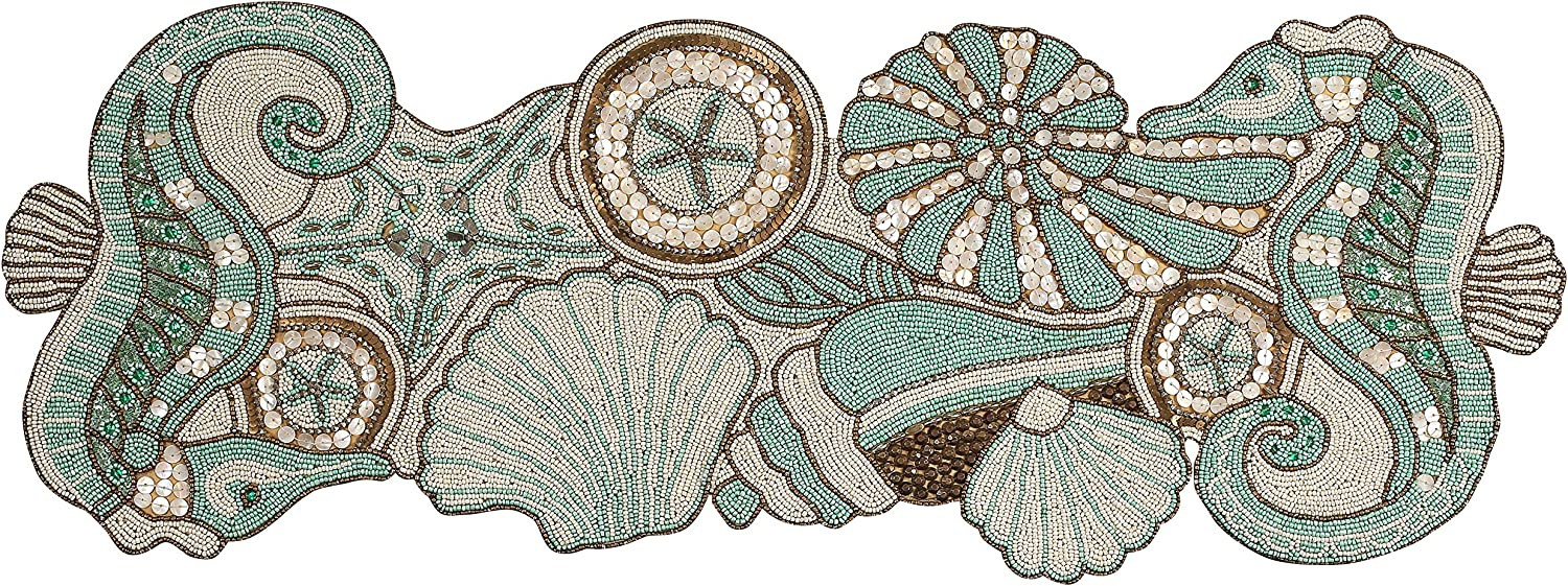 Handcrafted Coastal Theme Sea Shells Beaded Table Runner Beach Nautical Decor Tabletop Multi Colour-Home Decor Mat for Wedding Christmas Decoration Family Gathering - Pack of 1 Measure 13 x 36 inches