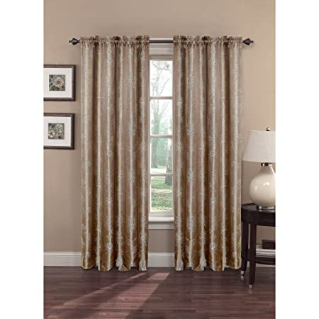 Window Elements Danica Faux Embroidered Jacquard Extra Wide 108 X 84 in. Rod Pocket Curtain Panel Pair, Taupe