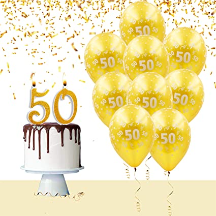 Kit Palloncini E Candeline Torta Per Festa Compleanno Anniversario Matrimonio 50 Anni Addobbi Tavola Decorazioni Auguri Compleanno Anniversario
