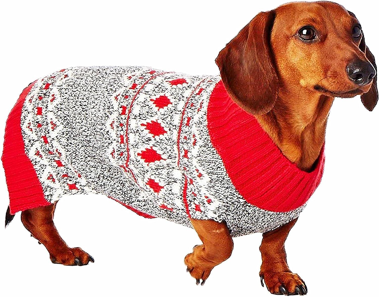 Hotel Doggy F15-1051BPMR Fair Isle Sweater Medium Cranberry Red