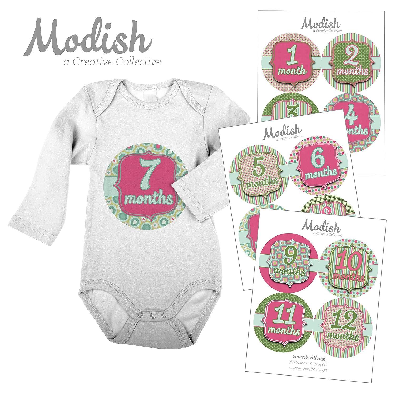 開店記念セール! 12 Monthly Baby - Stickers, Pink Months & Green, Year Baby Girl, Baby Belly Stickers, Baby Month Stickers, First Year Stickers Months 1-12, Pink, Green, Girl by Modish - Creative Collective B00SPII9YS, 川崎エンジニアリング:e1ace3ab --- mvd.ee