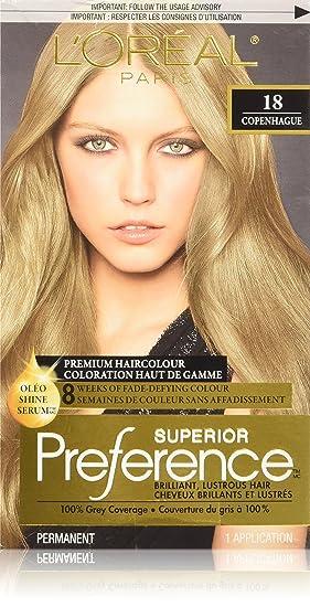 loreal paris superior preference premium haircolour 18 copenhague medium ash blonde - L Oreal Coloration Blond
