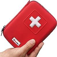 MediSpor Erste Hilfe Set - für Notfälle in der Familie - Ideal für Zuhause Auto Reisen Camping und Outdoor Aktivitäten - 100Stück in roter halbharte Tasche