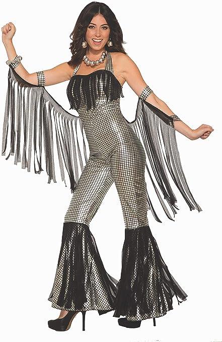 Disco Diva Costume 70s 80s Ladies Fancy Dress Outfit Dancing Queen Music S-L